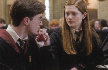 Ginny cleaning Harry
